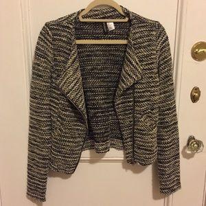 Black and Cream Knit Biker Jacket/Blazer